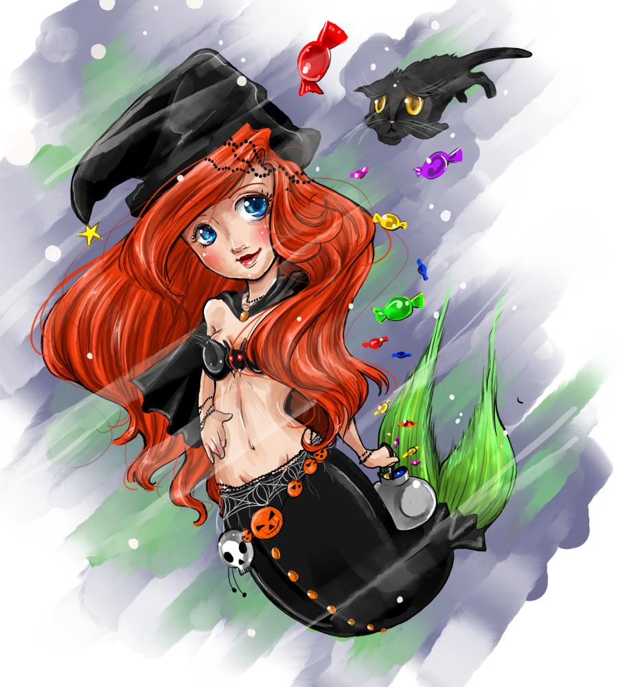 ariel chibi - halloween by boobledeeboo-d306xsz