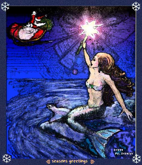 Mermaid Christmas card 1
