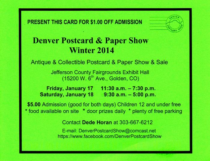 Denver Postcard & Paper Show Winter 2014