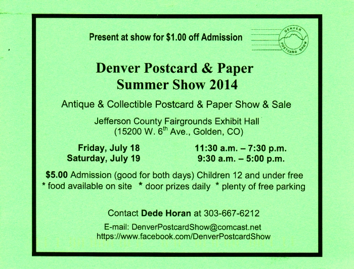 Denver Postcard & Paper Summer Show 2014