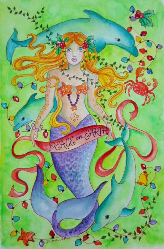 Mermaid Christmas Card