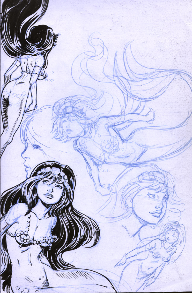 Mermaid sketches by Will Meugniot