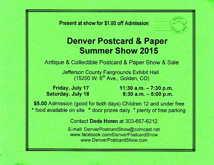 Denver Postcard Show July 2015