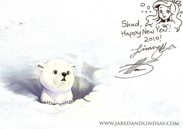 Signed postcard from Lindsay Cibos
