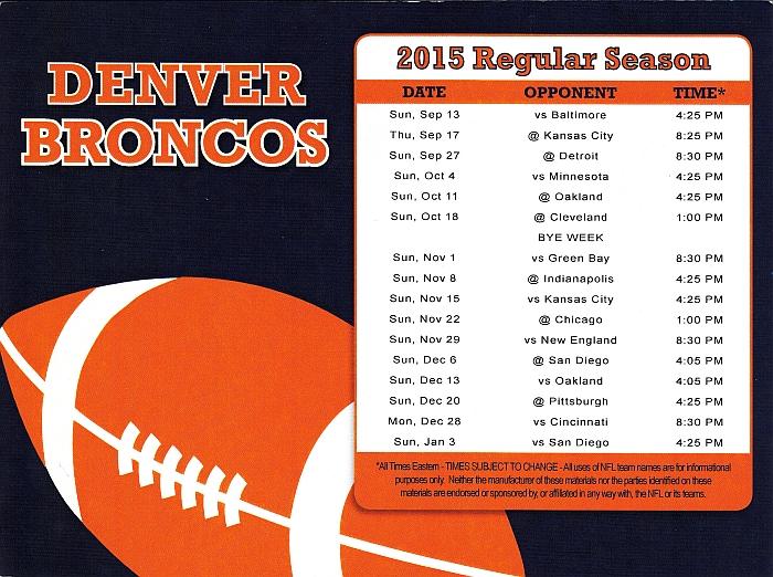 Broncos Schedule 2015
