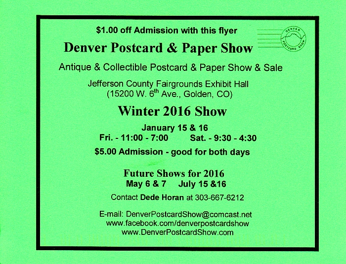 Denver Postcard & Paper Show Winter 2016