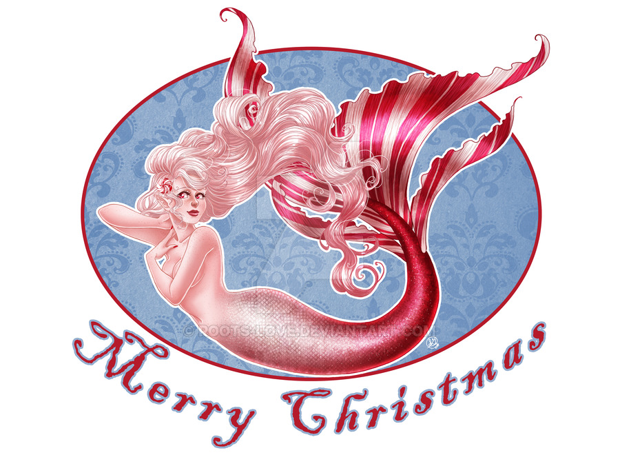 christmas card 2014 peppermint mermaid pin up by roots_love
