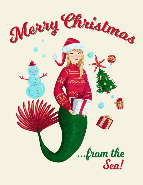 Mermaid Christmas Card 16