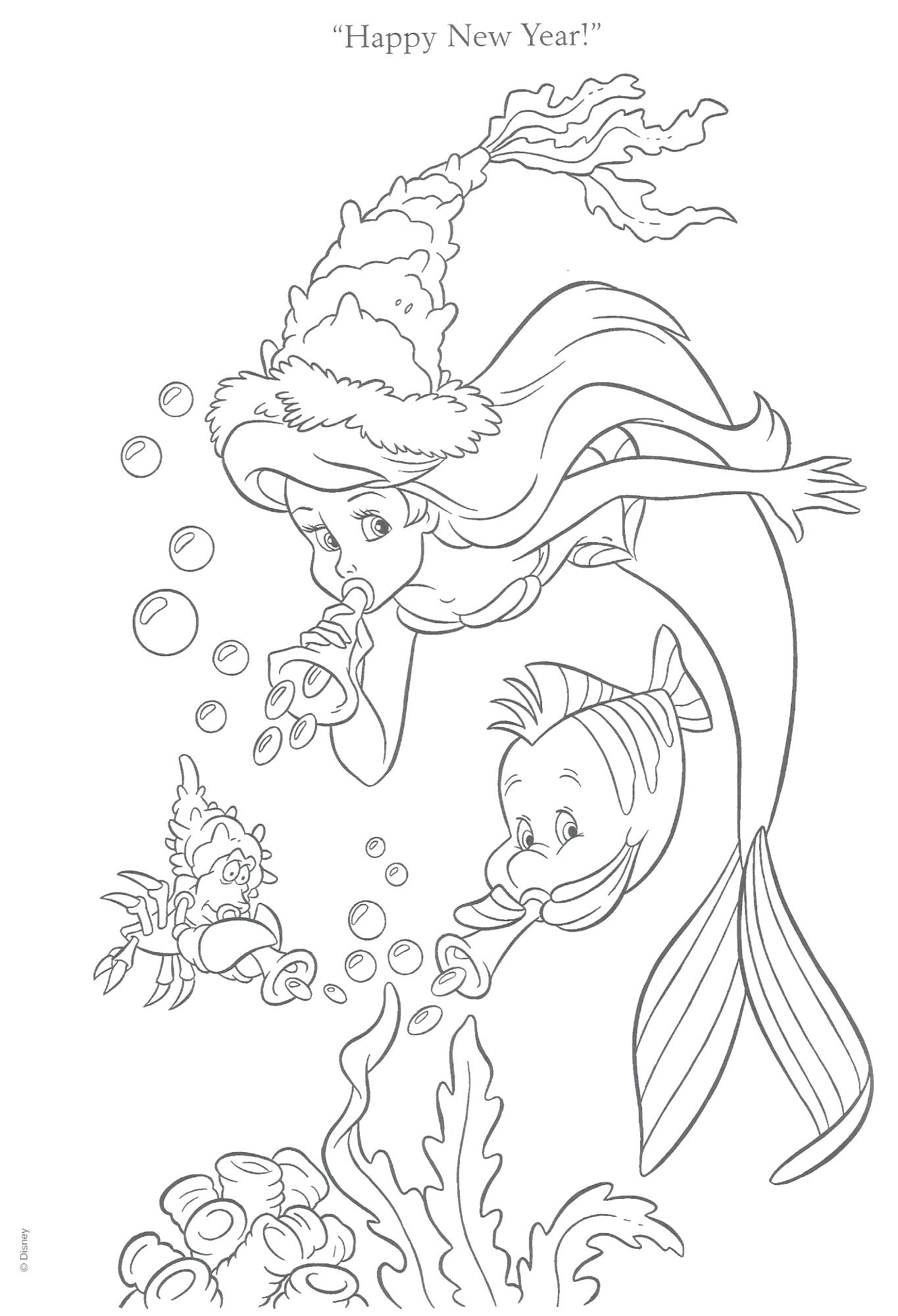 Ariel New Year Coloring Page