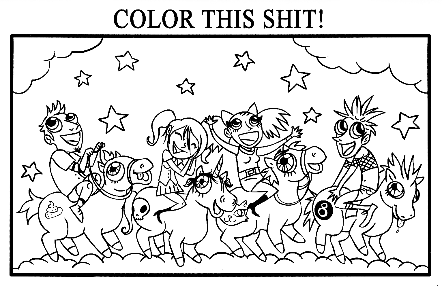 Coloring page from Adventures into Mindless Self Indulgence (Nov 2010)