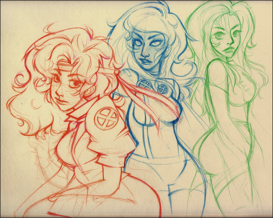 Rogue, Storm and Phoenix by Mewbot