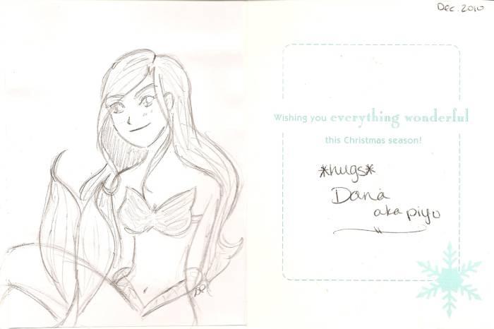 Christmas card mermaid by Dana