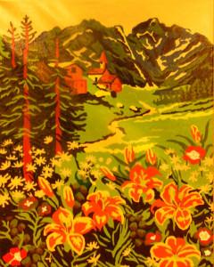 Домик в горах (раскраска по номерам)
