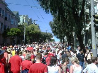 ugh. hill. slow moving crowd. blazing sun. UGH!