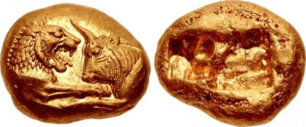 Крезов золотой статер, около 561-546 гг.