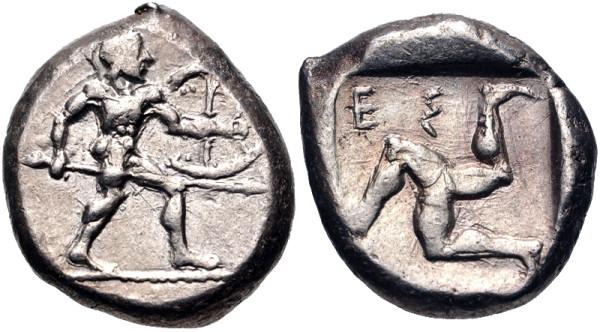 Монета Аспендоса , Памфилия , ок. 465–430 гг. До н. Э.