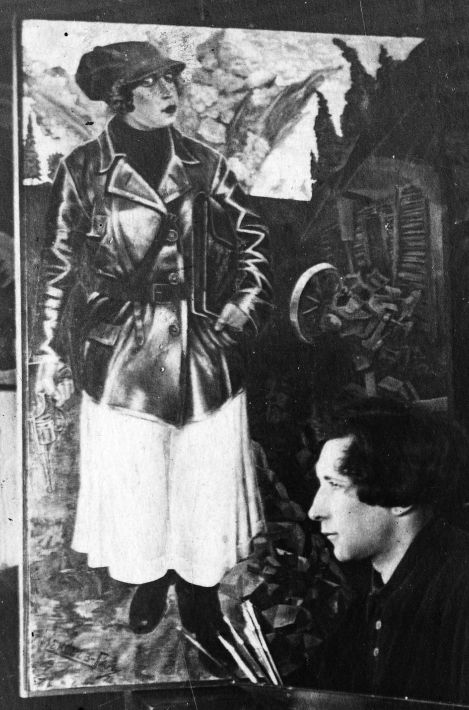Алексеев-Гай Григорий. Фото художника на фоне его картины Комиссар (Портрет Ларисы Рейснер, или Песнь о красной девице-соколице). 1920-е. Украден из …