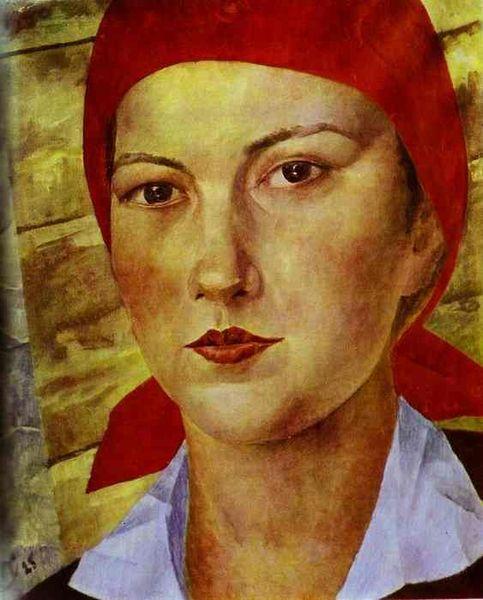 Петров-Водкин К.  Девушка в красном платке (Работница). 1925.jpg