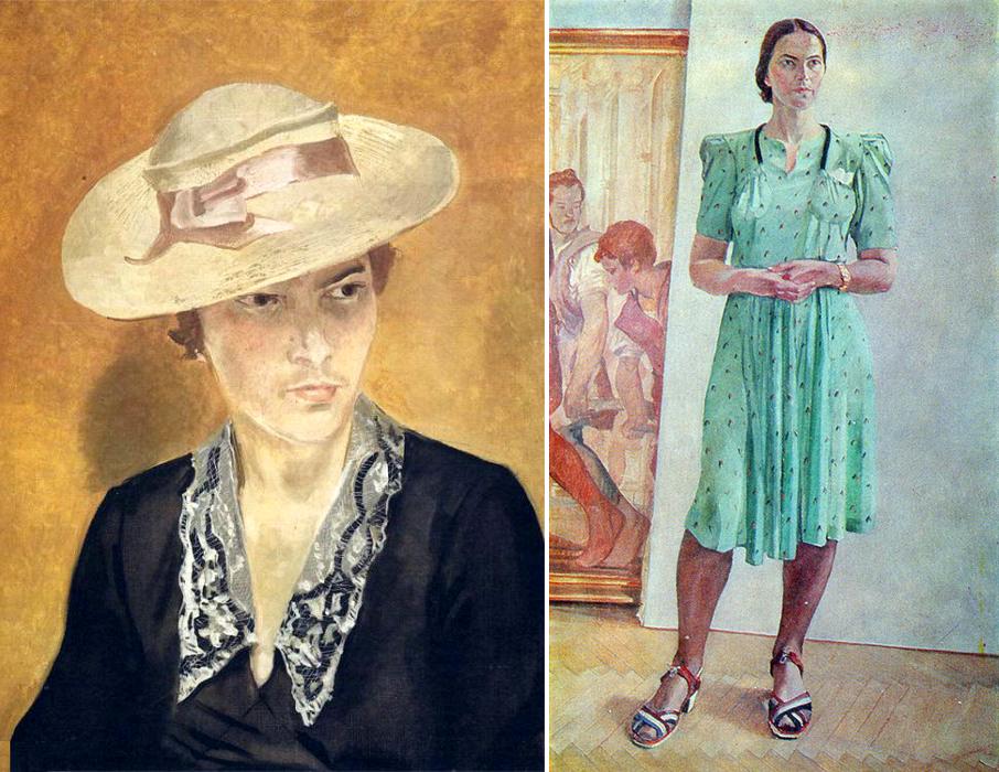 А. Дейнека. Портрет С.И.Л. в соломенной шляпе, 1935 год, Женский портрет, 1944 год.png