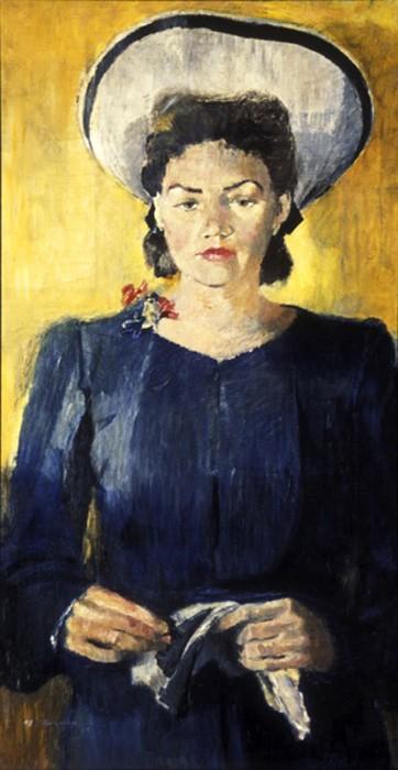 Юрий Пименов. Портрет Н.К. Пименовой в белой шляпе, 1943 год.jpg