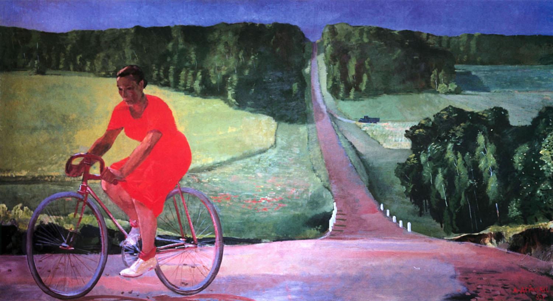Дейнека А. - Колхозница на велосипеде (1935).jpg