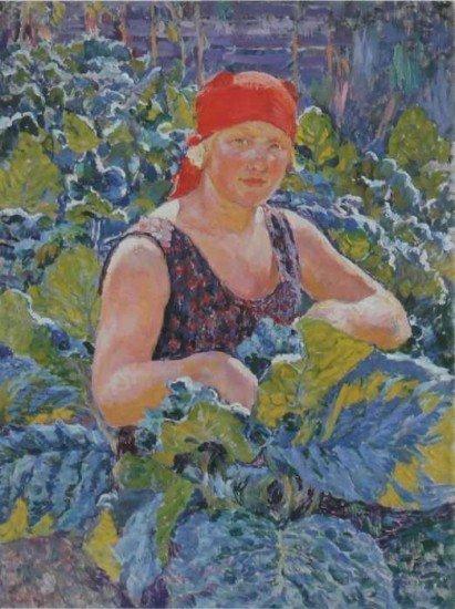 Машков Илья Иванович. Девушка на табачной плантации. 1930 год..jpg