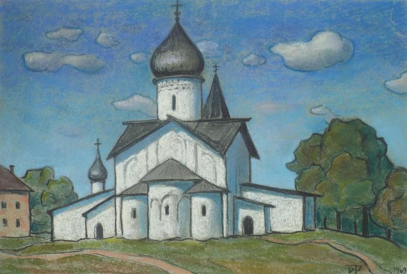 Б.Смирнов-Русецкий. Псков-церковь Вознесения. 1969 27х36.JPG
