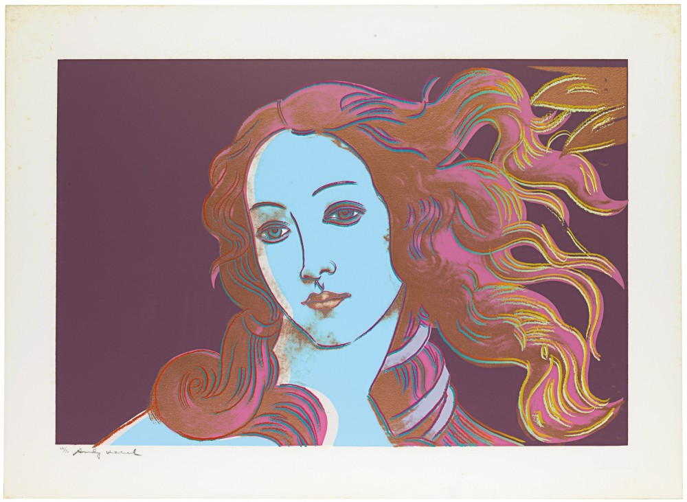 Andy Warhol, Details of Renaissance Paintings (Sandro Botticelli, Birth of Venus, 1482),1984 Screenprint on Arches Aquarelle (Cold Pressed) Paper (2)…