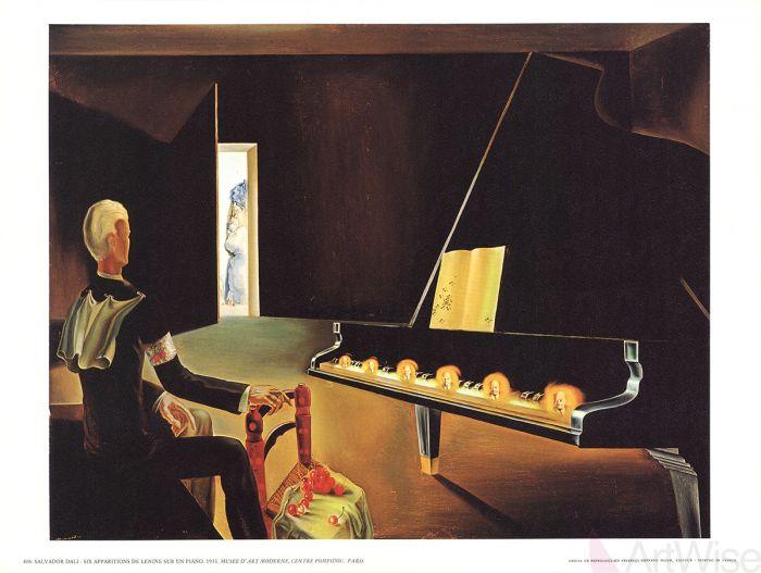 Dali. Partial Hallucination Six Apparitions of Lenin on a Piano Частичное помрачение. Шесть явлений Ленина на рояле (1931).jpg