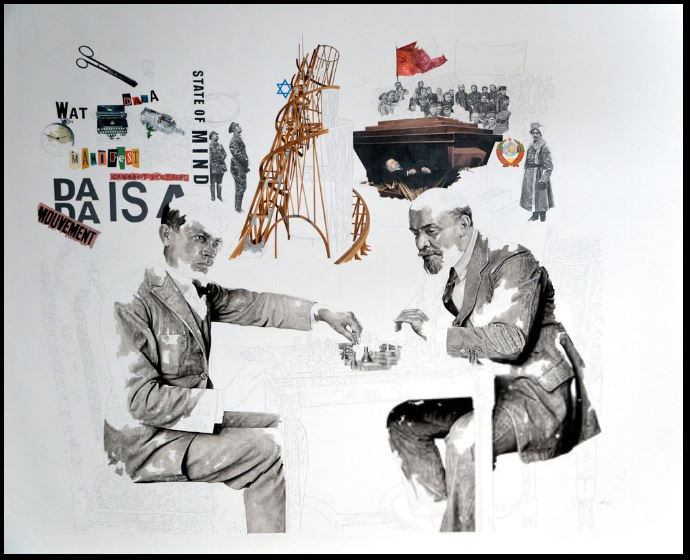 Daniel Brici Tzara & Lenin Playing Chess, 2016.JPG