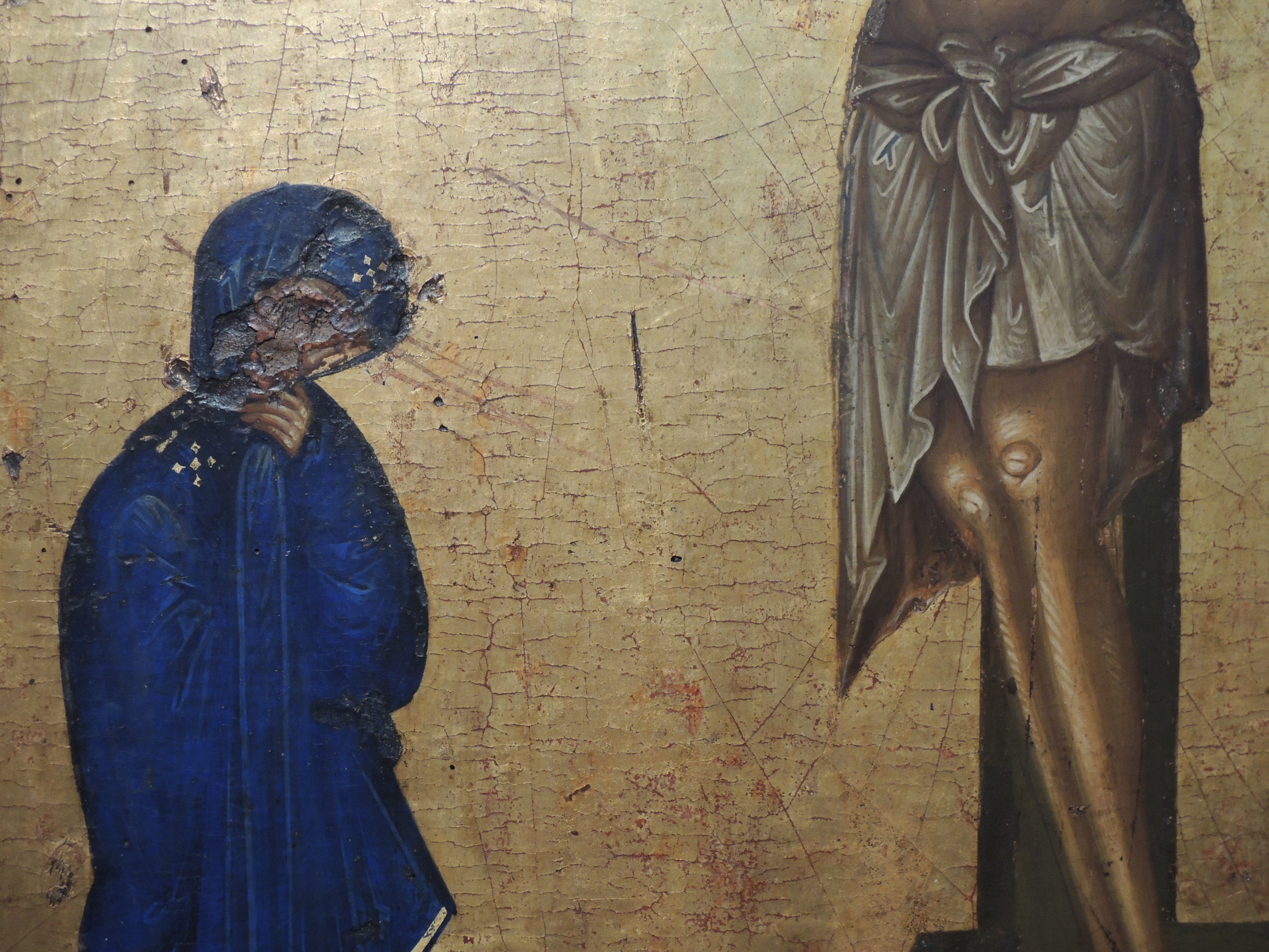 1. Богоматерь Одигитрия. Распятие. Двусторонняя икона. XIV век (деталь).JPG