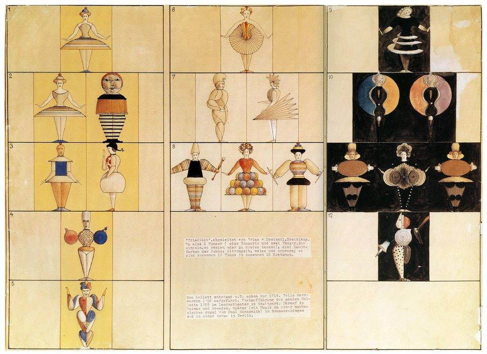 Oskar Schlemmer, Triadic Ballet , Figure-Plan of Dancers Wearing Costumes, ca. 1924-1926..jpg