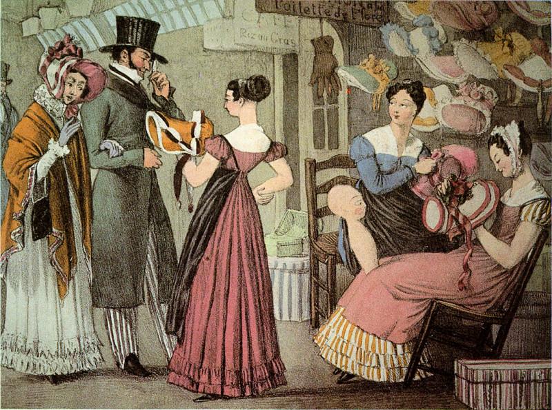 Джон Джеймс Чэлон. Модная лавка в Париже, 1822.jpg
