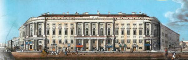Невский 15, дом Чичерина, на лит ографии И.А.Иванова по рисунку В.С.Садовникова, ок. 1830.jpg