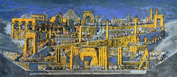 Pino Casarini, Aida atto II. Bozzetto per allestimento scenico dell'Arena di Verona, 1966..jpeg