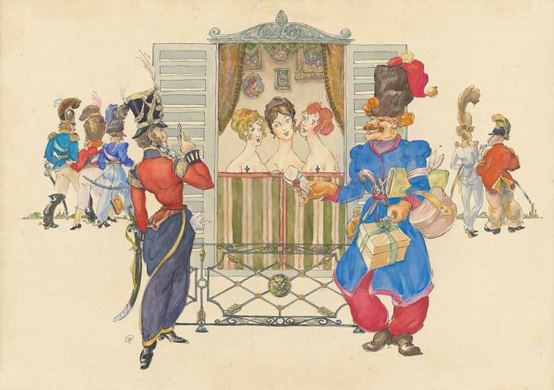 Les Cosaques de Platov à Paris - M.Dobuzhinsky (1926) 02.jpg