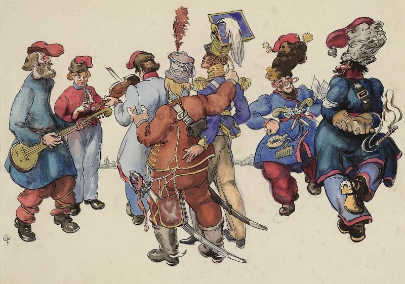 Les Cosaques de Platov à Paris - M.Dobuzhinsky (1926) 04.jpg