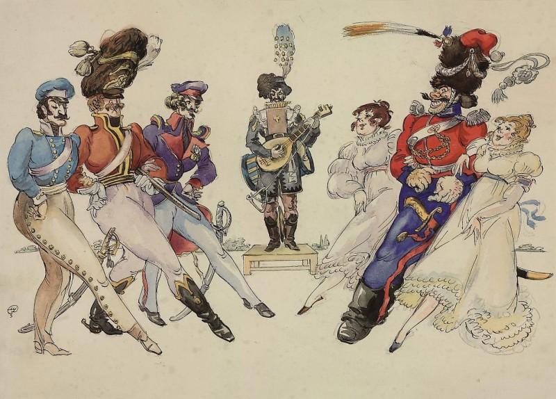 Les Cosaques de Platov à Paris - M.Dobuzhinsky (1926) 05.jpg