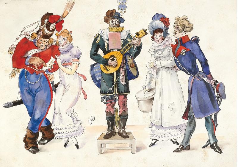 Les Cosaques de Platov à Paris - M.Dobuzhinsky (1926) 07.jpg