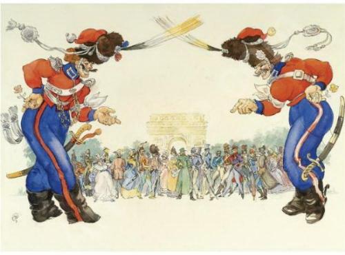 Les Cosaques de Platov à Paris - M.Dobuzhinsky (1926) 09.jpg