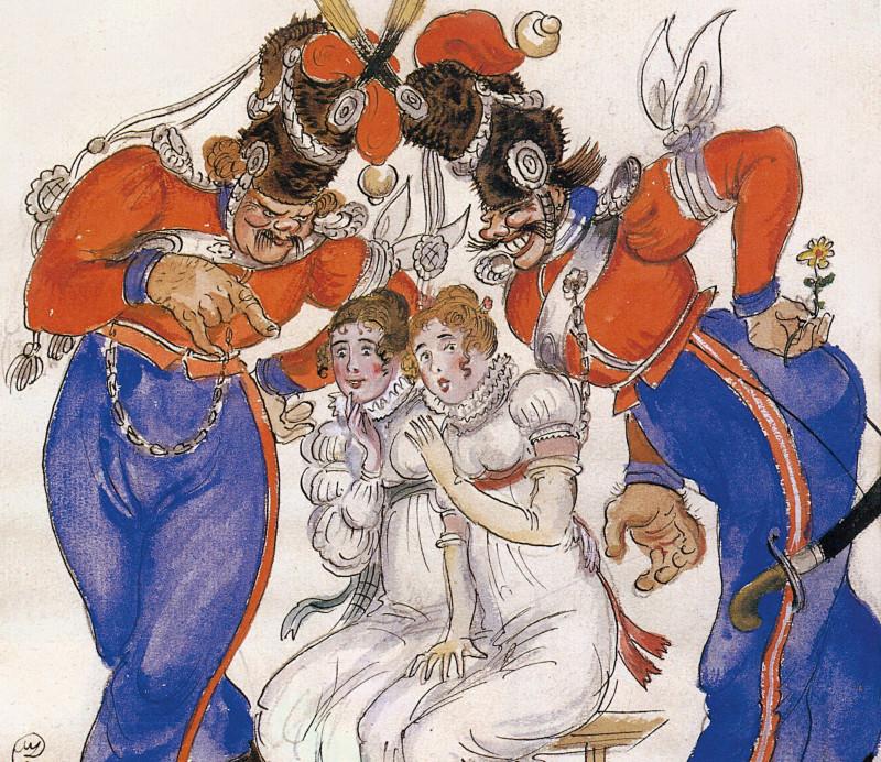 Les Cosaques de Platov à Paris - M.Dobuzhinsky (1926) 10.jpg