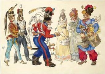 Les Cosaques de Platov à Paris - M.Dobuzhinsky (1926) 13.jpg