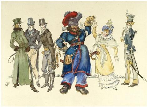 Les Cosaques de Platov à Paris - M.Dobuzhinsky (1926) 17.jpg
