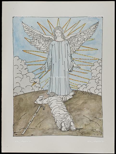 03 Serie dell'Apocalisse - la Corte Celeste, tav. III, litografia a colori, De Chirico Giorgio.jpg