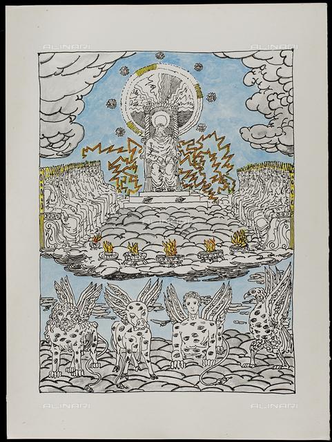 04 Serie dell'Apocalisse - la Corte Celeste, tav. IV, litografia a colori, De Chirico Giorgio.jpg