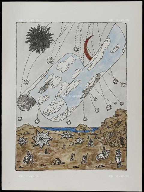 05 Serie dell'Apocalisse, tav. V, litografia a colori, De Chirico Giorgio.jpg