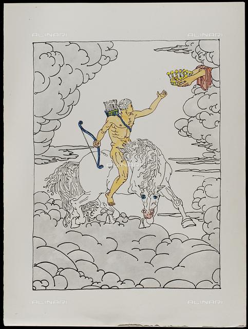 06 Serie dell'Apocalisse, Il primo cavaliere - la Guerra, tav. VI, litografia a colori, De Chirico Giorgio.jpg