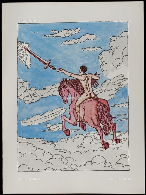 07 Serie dell'Apocalisse, Il secondo cavaliere - la Giustizia, tav. VII, litografia a colori, De Chirico Giorgio.jpg