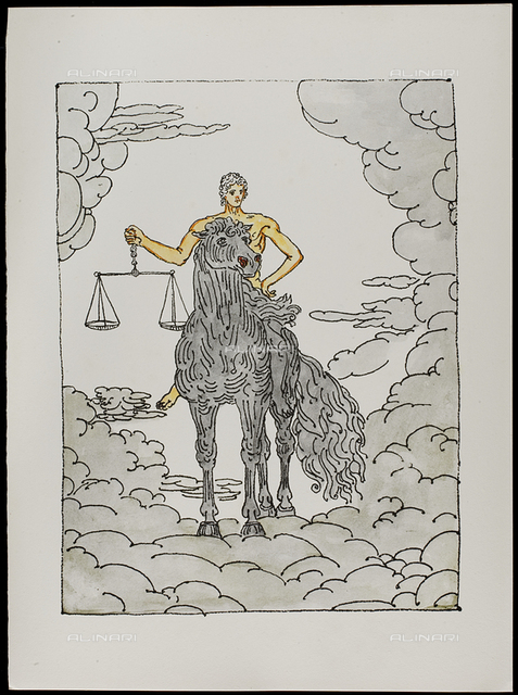 08 Serie dell'Apocalisse, Il terzo cavaliere - la Carestia, tav. VIII, litografia a colori, De Chirico Giorgio.jpg