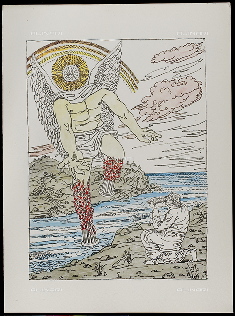 10 Serie dell'Apocalisse -, tav. X, litografia a colori, De Chirico Giorgio.jpg